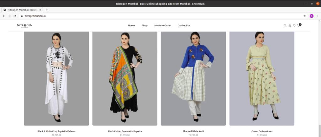 Website view of our Client Nitrogen Mumbai